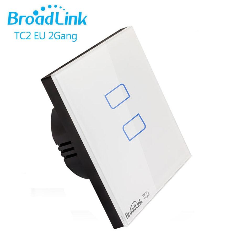 Broadlink TC2 EU 2Gang Wifi Wall Touch Ljus Switch Panel IOS Android - Smart electronics