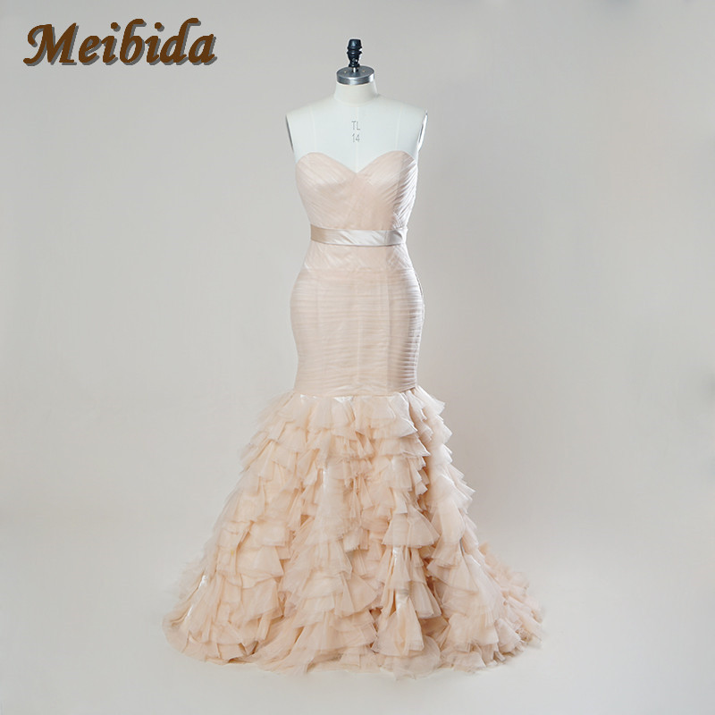 Embroidered bridal gowns most popular design ruffle for Crystal embroidered wedding dress