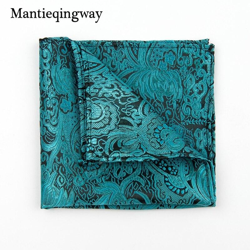 Mantieqingway New Print 22*22cm Polyester Pocket Square For Men Brand Fashion Mens Business Handkerchief Hanky Men Chest Towel
