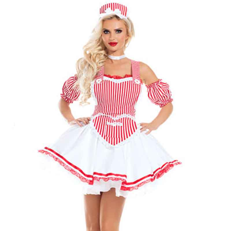 Sweet Girl Pink Stripe Fancy Dress Cospaly <font><b>Sexy</b></font> French Maid Cartoon Role-play Games <font><b>Halloween</b></font> <font><b>Costume</b></font> <font><b>For</b></font> <font><b>Women</b></font> Nurse Role Suits image