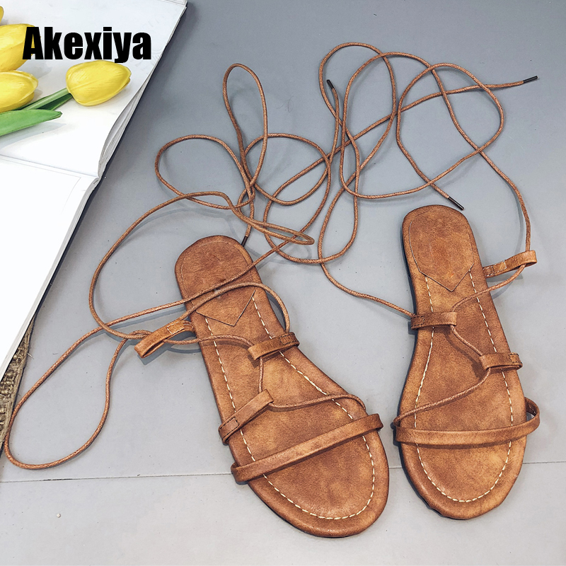 2018 New Women Sandals Gladiator Casual Lace Up Flat Sandals Fashion Women Cross Tie Ankle Strap Flat Heel Summer Sandals M595 цена и фото