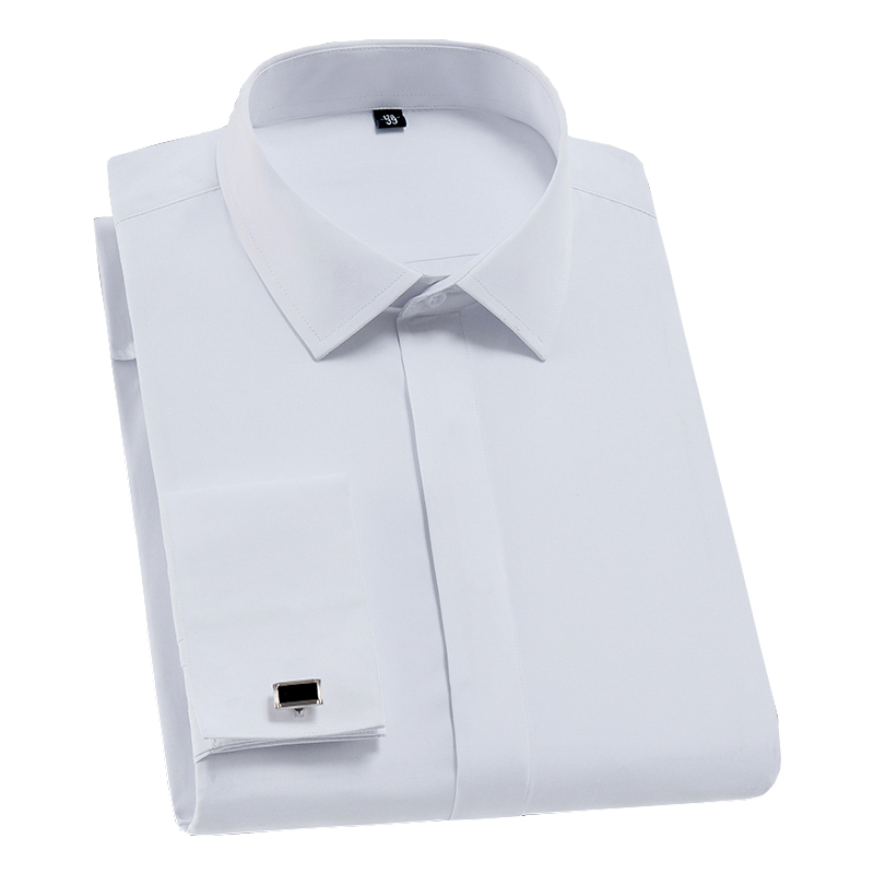 Men French Cufflinks Shirt Solid Plain Color Social Tuxedo Shirt Work Business Non-iron Formal Button Tops White Gentleman Party