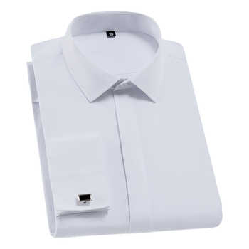 Men French Cufflinks Shirt Solid Plain Color Social Tuxedo Shirt Work Business Non-iron Formal Button Tops White Gentleman Party - DISCOUNT ITEM  36% OFF All Category