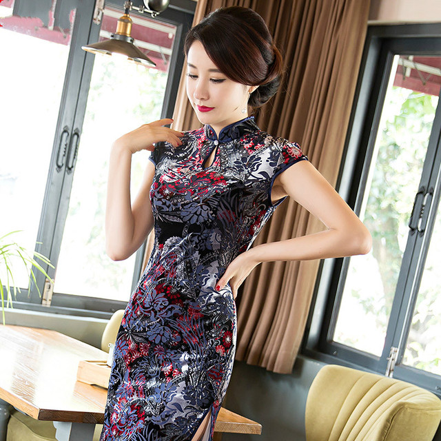 Short Cheongsam Chinese Style Velvet With Big Flowers Printing Short Sleeves With Plus Size 3XL Dress