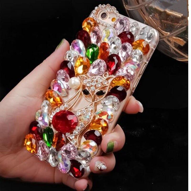 Luxuy Lindo Fox Rhinestone Del Diamante de Acrílico Suave caso de Bling  para el iphone 5 5S 6 6 s 7 más b3a28e509eac