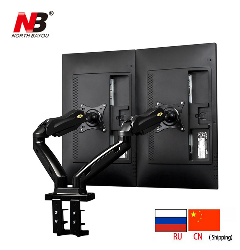 NB F160 Gas Spring 360 Degree Desktop 17-27 Dual Monitor Holder Arm Full Motion TV Mount nb f180 gas spring full motion 17 27 dual screen monitor holder desktop clamping or grommet tv mount with usb and audio port