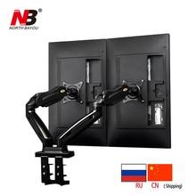 ФОТО NB F160 Gas Spring 360 Degree Desktop 17-27 Dual Monitor Holder Arm Full Motion TV Mount