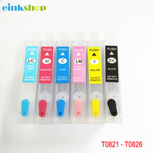 T0821 - T0826 Refillable Ink Cartridge For Epson T0821N Stylus R270 R390 RX590 TX700W TX800W TX720 TX700 TX800 RX610 Printer