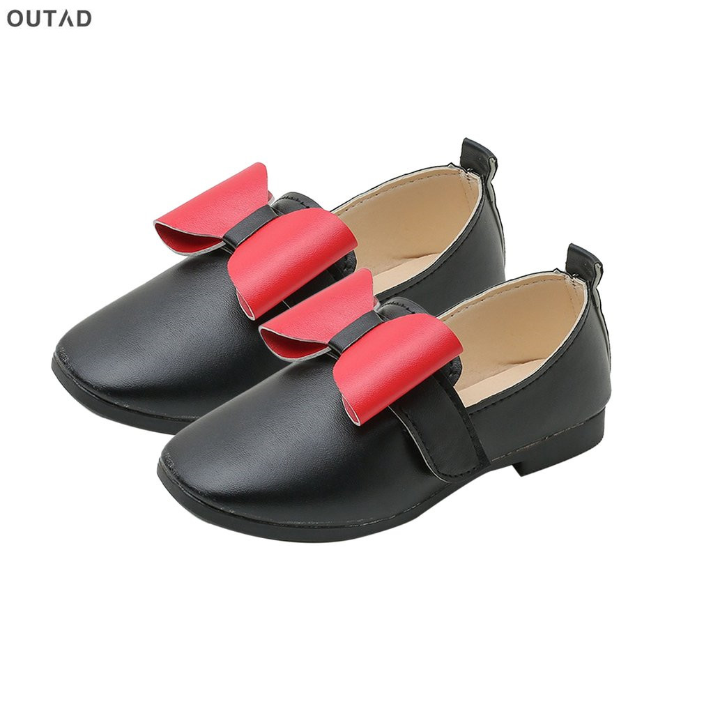 Bowknot Girls Shoes Spring Autumn Princess PU Leather Shoes Round Wide Toe Casual Nude Shoes Soft Comfortable Casual Shoes Hot