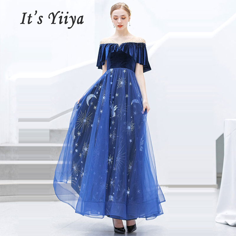 It's Yiiya Evening Dress Sexy V-neck Robe De Soiree Short Sleeve Women Party Dresses 2019 Plus Size Backless Evening Gowns E623