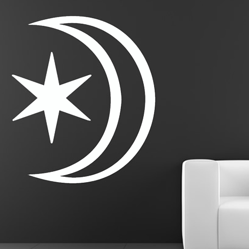Hot Sale Simple Star And Moon Wall Sticker Bedroom Design Home Decor Vinyl Removable DIY Wall Decal