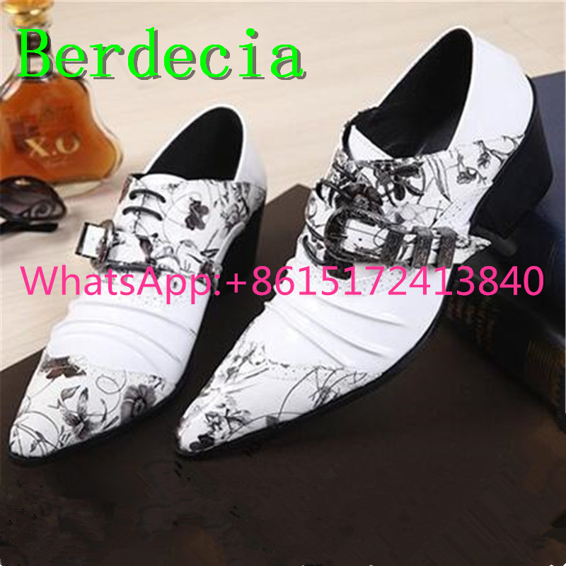 Berdecia Pointed Toe Crystal Hasp Mens Brogue Shoes Casual Leather Flowers And Plants Pattern Height Increasing Mens Dress Shoes