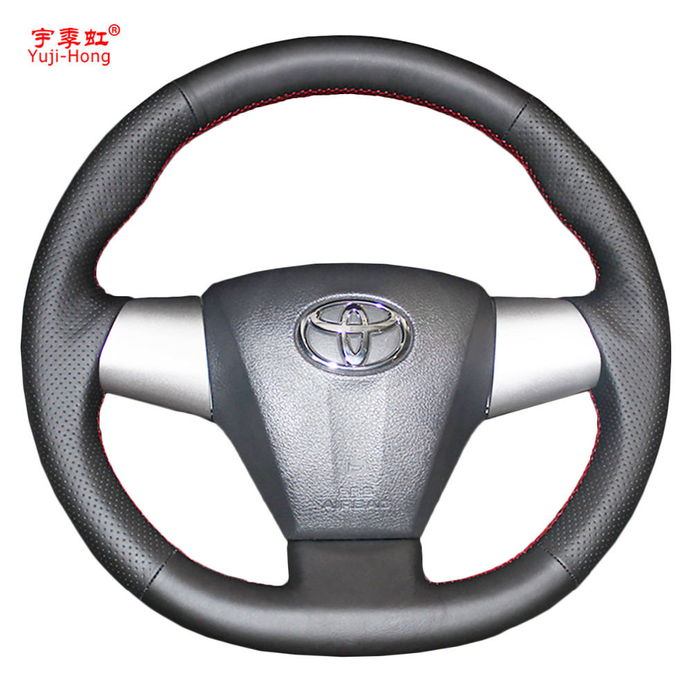 Car steering wheel covers case for toyota corolla 2011 rav4 2012 2013 genuine leather auto cover hand stitched car styling black