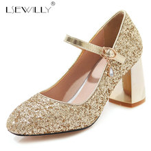 Lsewilly Sequined Cloth Pumps Women Round Toe Footwear Thick Heels Mary Jane Bling Shoes Female Wedding Ballet Shoes Woman E664 women s velvet med heel comforable mary jane pumps brand designer round toe spring new female cute footwear shoes for women sale