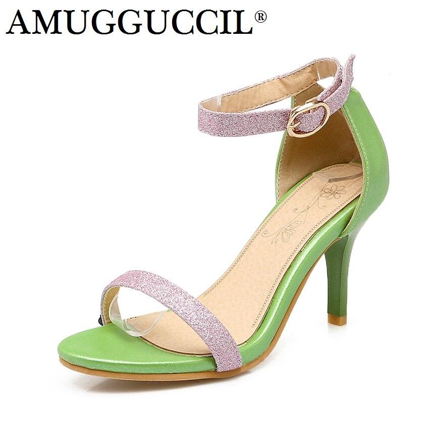 0ed981e35 2019 Новое поступление плюс большие размеры 32–45 Розовый Белый Зеленый  модная обувь с пряжкой пикантные туфли на высоком каблуке летние женск.