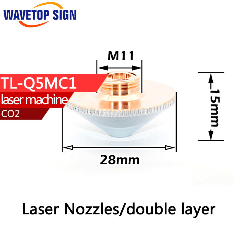 Laser Nozzles  Double Layers Caliber 1.0 1.2 1.4 1.5 1.8 2.0 3.0 4.0 For Precitec Fiber Laser Cutting Head Welding Machine  laser precitec laser ceramic kt b2 con p0571 1051 00001 for precitec laser cutting head 32mm 28 5mm free shipping