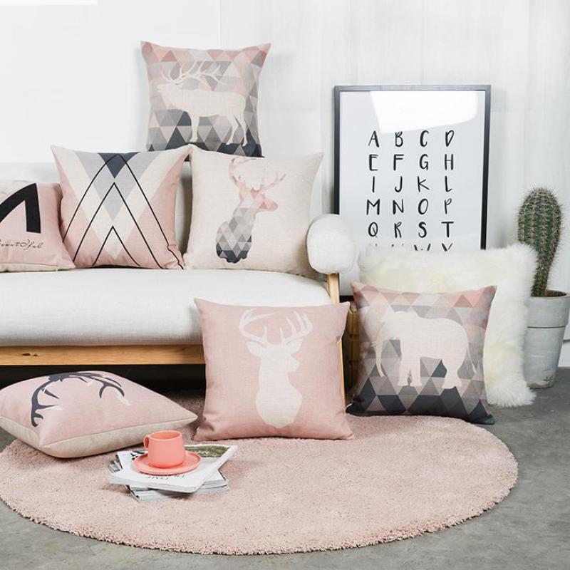 Home Decoration Nordic Style Pink Geometric Cushion Marble Decor Triangle Deer Antlers Elephant Animal Head Sofa Throw Pillows