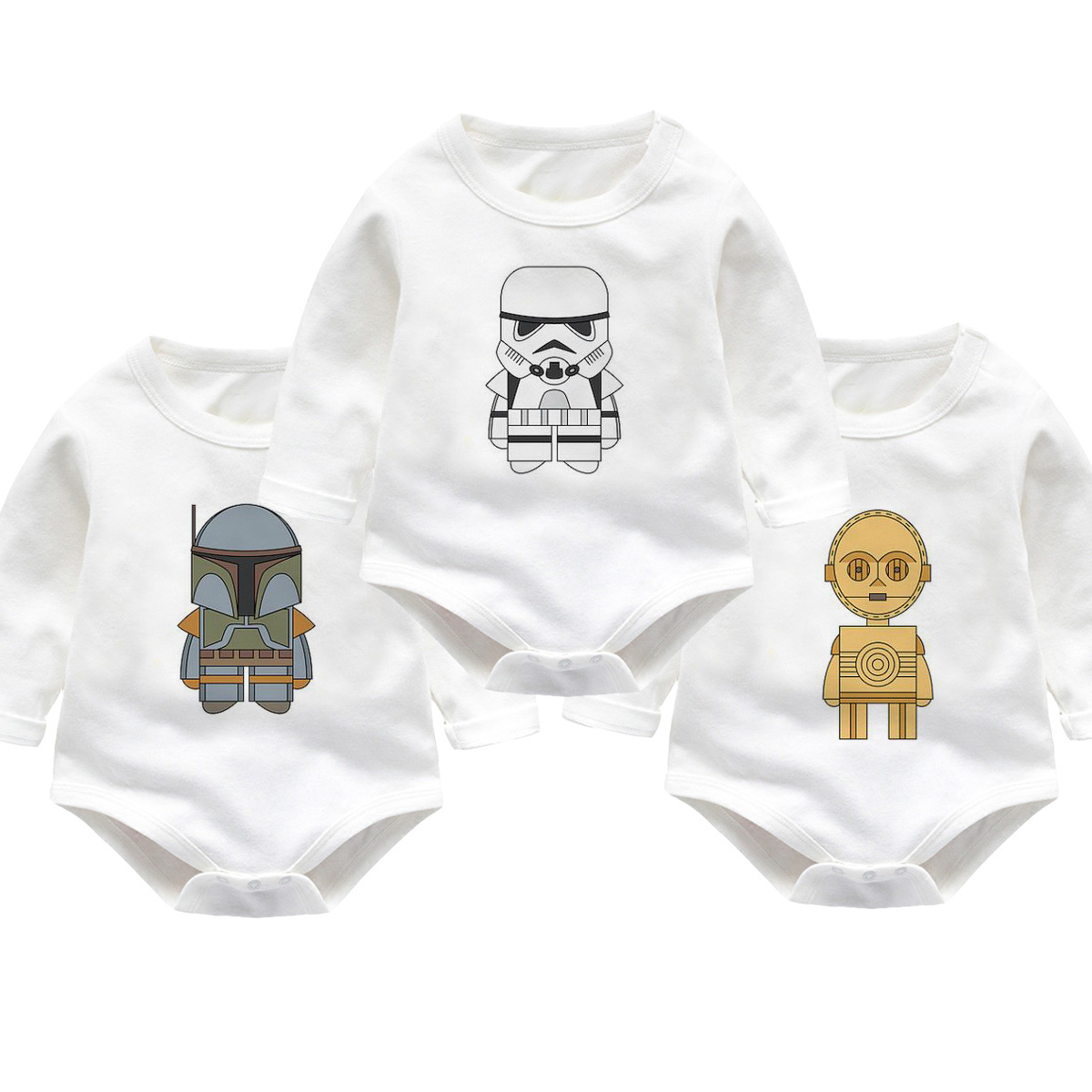 Cotton Newborn Baby Girls Boys Clothes Short Sleeve Bodysuits Print Star Wars Cute Jumpsuit Outfits Boys Baby Clothes