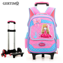 цены Trolley School bag for Girls Boys Removable Cartoon Waterproof School Backpack on Wheels Children Bookbag kids Schoolbag mochila