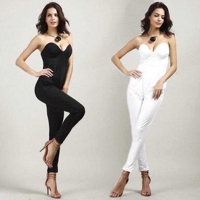 fdc535dcc146 Rompers Womens Jumpsuit 2017 Sexy White Black Slim Pants Bodysuit  Sleeveless Strapless Women Jumspuits Macacao Feminino