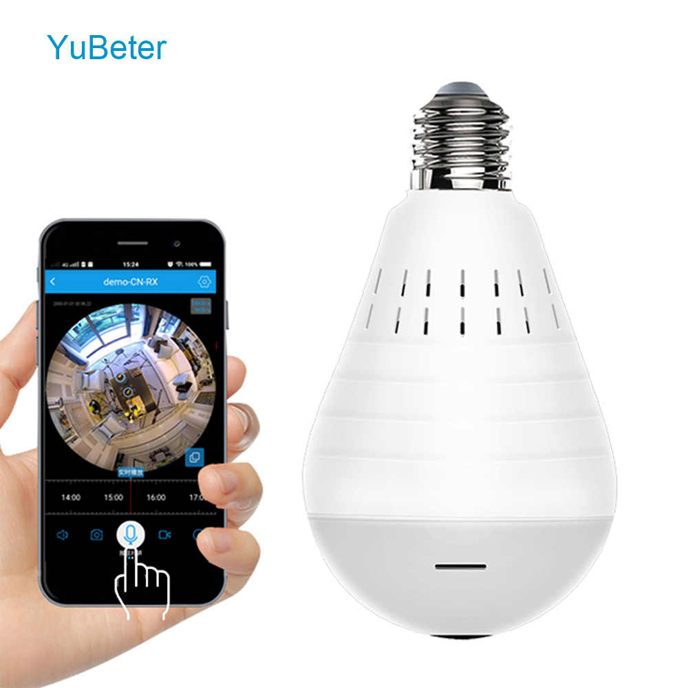 YuBeter 960P Wireless Panoramic Camera Bulb 360 Degree Fisheye Lens Home Security Video Surveillance Night Vision IP Camera Lamp