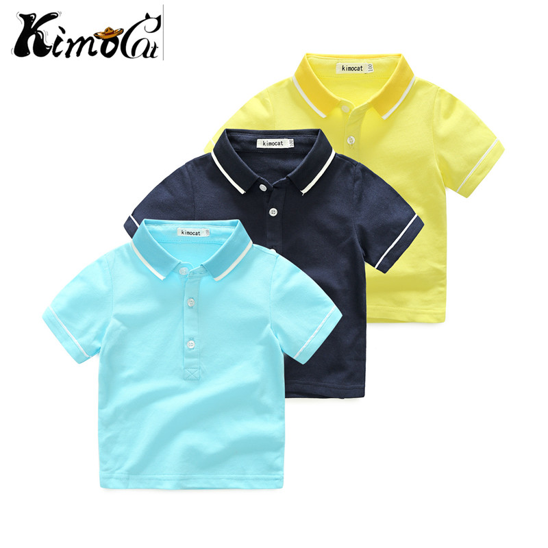 Kimocat new fashion boys polo for kids summer children clothes solid color cotton short sleeve boys girls polo shirt vertical striped color block polo shirt