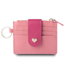 Women Wallets Slim Real Leather Credit Card Holder Mini Short Coin Zipper Purse Small Card Case women short wallet mini coin purse fashion heart design small wallets for girls tassel zipper puirses coin purse card holder
