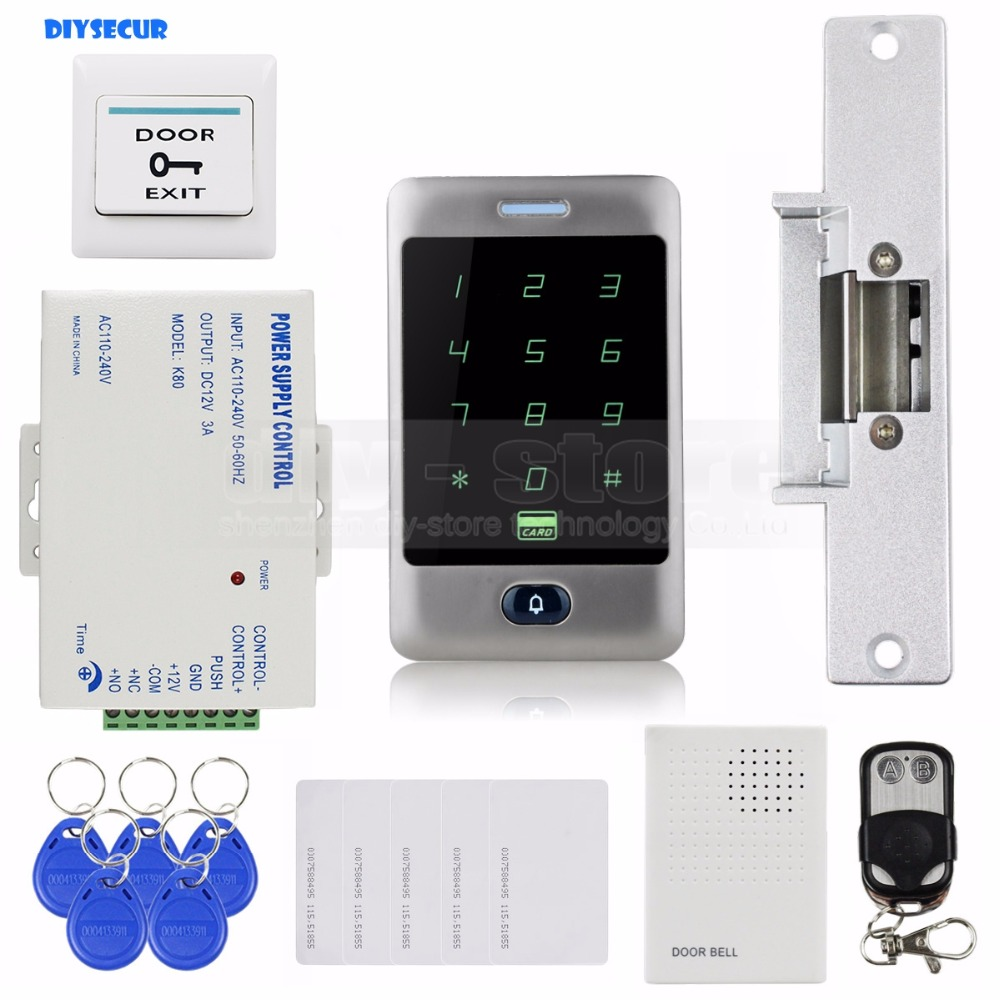 DIYSECUR 125KHz RFID Reader Password Keypad + Strike Lock + Door Bell + Remote Control Door Access Control Security System Kit diysecur rfid keypad door access control security system kit electronic door lock for home office b100