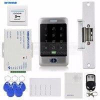 DIYSECUR 125KHz lector RFID teclado de contraseña + cerradura de golpe + timbre de la puerta + Control remoto Control de acceso de puerta Kit de sistema de seguridad