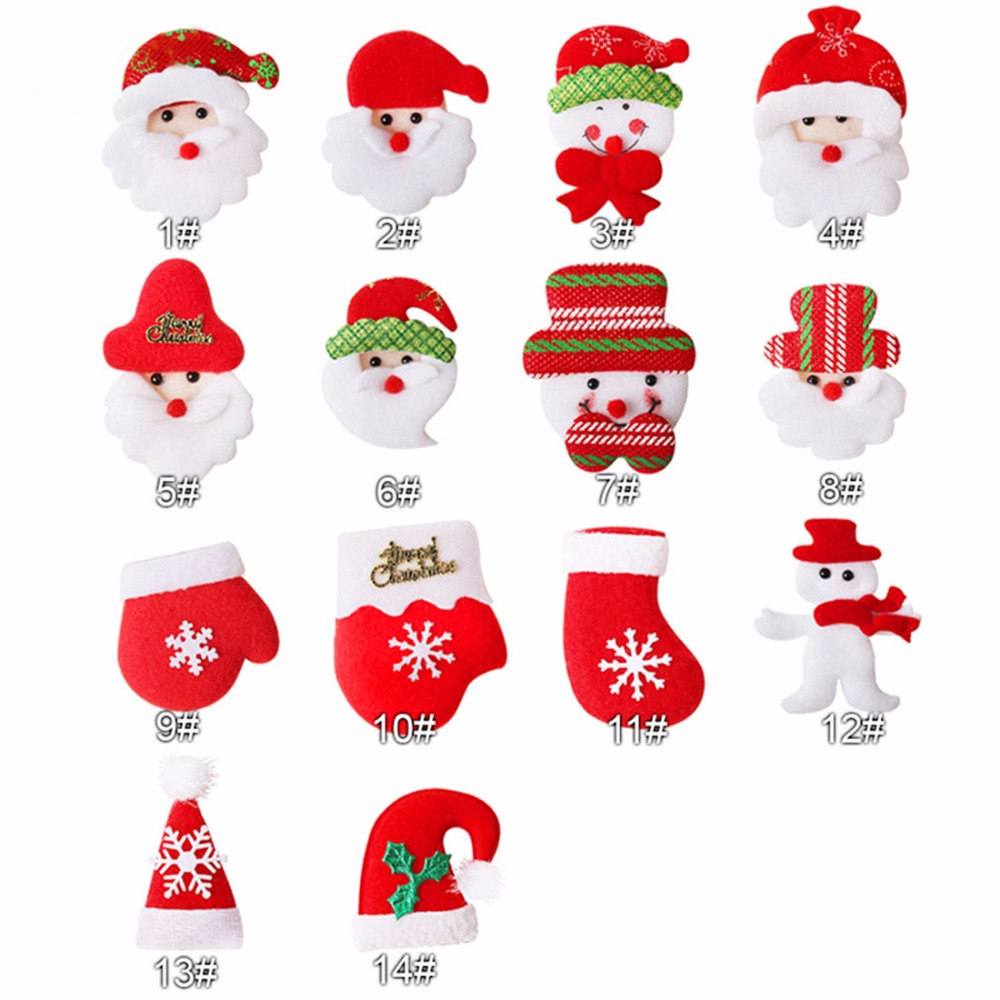50pcs lot Christmas Santa Hat Glove Snowman For Girls Christmas Party DIY Hair Bow Hair Accessories