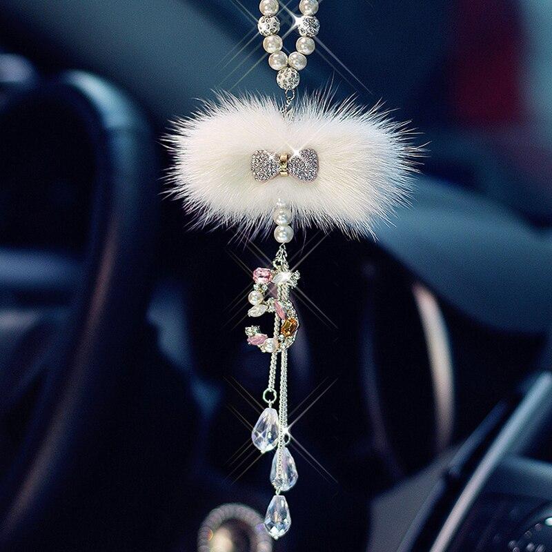 Bling Do Carro Pendurado Acessório Para Meninas Diamante Bowknot Ornamento De Luxo Cristal Pingente No Espelho Retrovisor Do Carro Auto Decoração de Interiores
