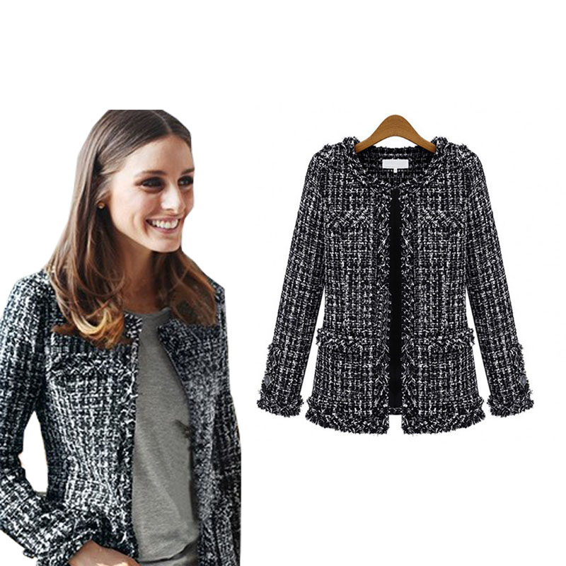 2019 Women Fashion Coat Autumn Winter Thin Black Checkered Tweed Casual Plaid Jacket Outerwear FS0273(China)
