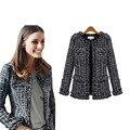 2019 для женщин модное пальто осень зима тонкий черный клетчатый твид повседневное клетчатая куртка Верхняя одежда FS0273 - фото