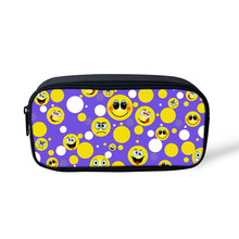 Noisydesigns Cute Emoji Printing Children Pencil Pouch Travel Women Small Makeup Cometic Bags Cartoon Pen Case for Teenager Girl(China)