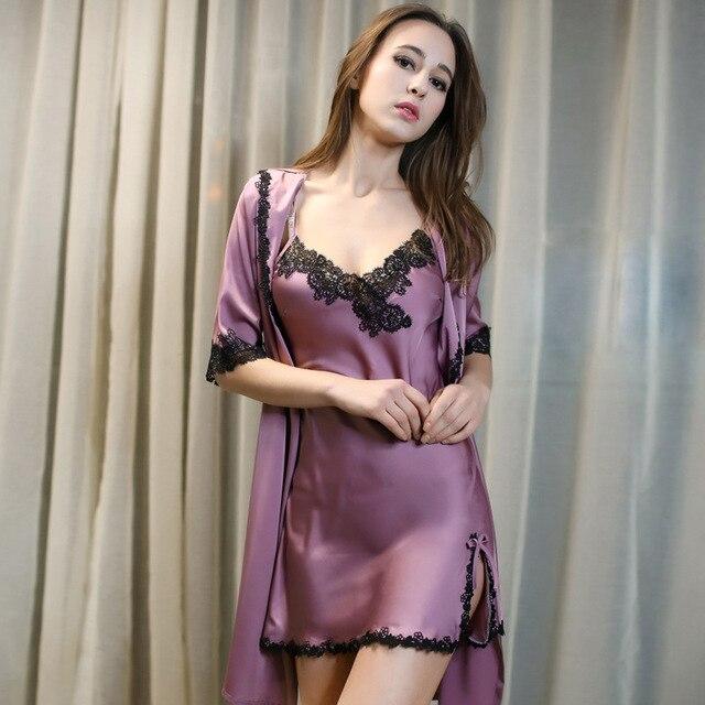 e29320f1 Sexy falda de noche de albornoz 9 puntos manga pijama de encaje de Europa y  los Estados Unidos nueva casa cardigan vestido de baño en Traje y Del ...