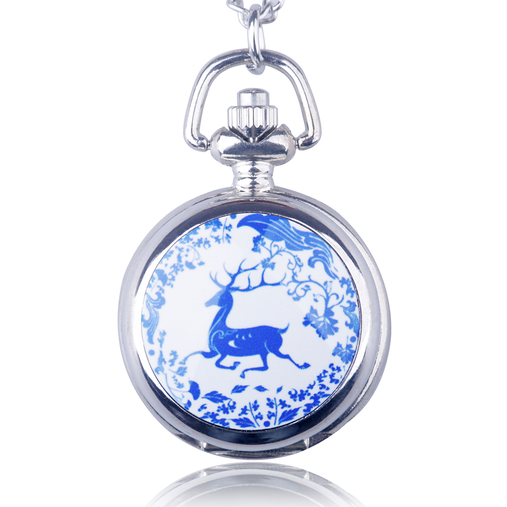 Christmas Sika Deer Long Retro Necklace Quartz Pocket Watch Men And Women Sweater Chain Jewelry For Gift Drop Shipping