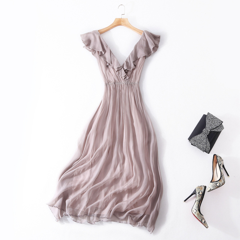 Шелковый хлопок сплошной v образным вырезом эластичный пояс рукавов пляж линии длинное платье 2018 новые высококачественные офисные женские