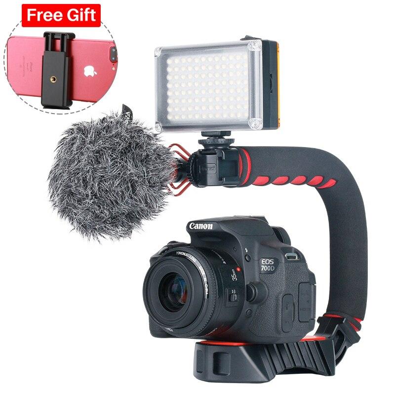Caméra Ulanzi DSLR stabilisateur de Cage installation vidéo w Boya BY MM1 Microphone LED lumière de Photo pour Canon Nikon iPhone GoPro 7 6-in Accessoires pour studio photo from Electronique    1