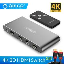 ORICO HDMI Switch Splitter 4K 60Hz HDMI2.0 Switcher 3 Input 1 Output HDMI Splitter for PC Laptop XBOX 360 PS3 PS4 TV Projector цена и фото