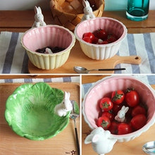 Ceramic Rabbits Bowls Big Size 15X8cm Green and Pink Bowl Use as Fruit salad Bowl or Food Ice Cream Bowl High Quality
