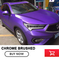 Matte Metallic Chrome Brushed Vinyl For Car Full Body Decoration Purple Violet Color With Free Shipping