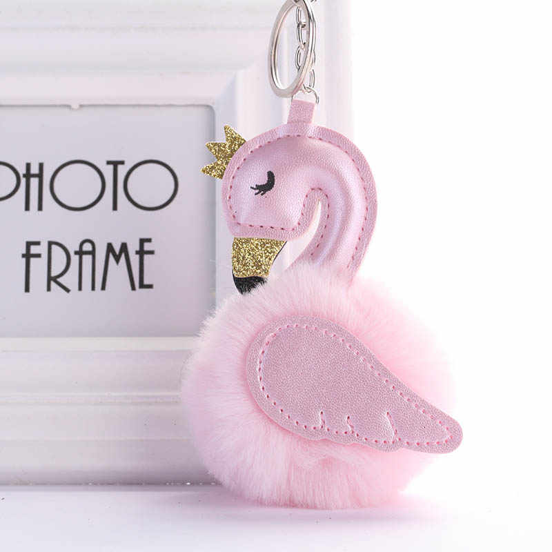 Cute Pink Flamingo Keychain Women Rabbit Fur Pompoms Swan Car Key Ring Holder Bag Charm Pendant Party Accessories Gift