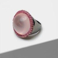 Винтажный 925 посеребренный 22 k золото преувеличенный круглый дизайн инкрустированный полудрагоценный камень розовый кварц кольца