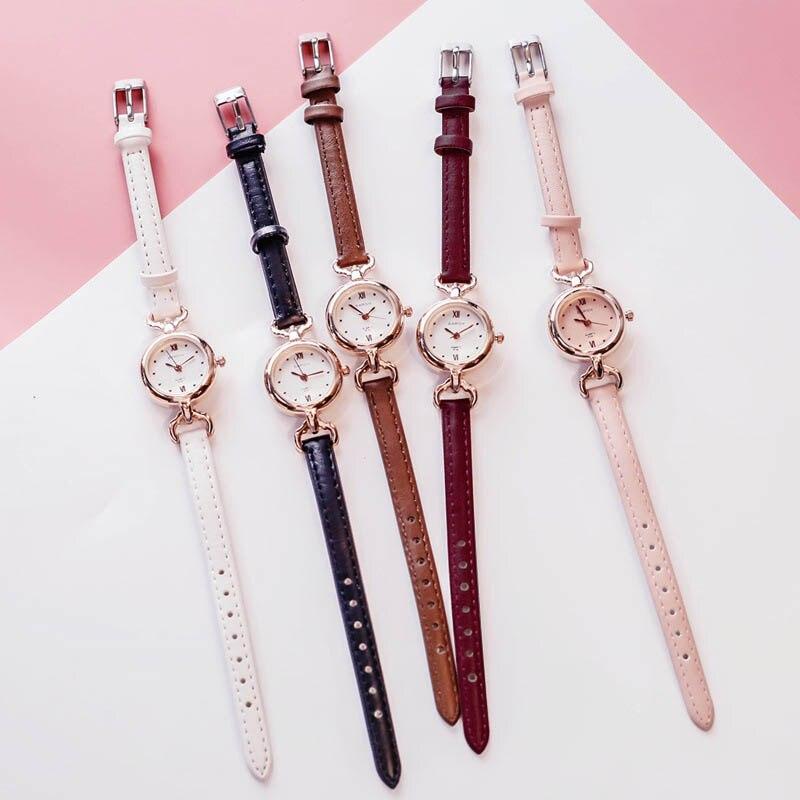 Women Girl Simple Quartz Wrist Watch PU Leather Strap Mini Thin Dial Watches FDC99