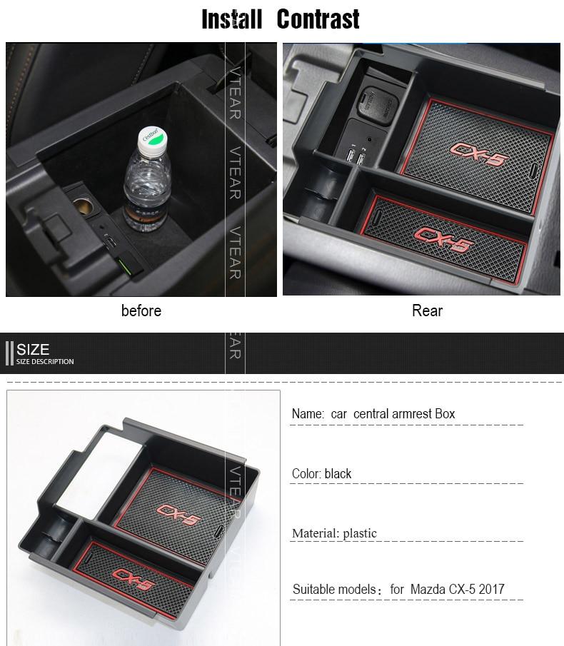 For Mazda CX-5 2017-2018 Center Console Armrest Storage Box Organizer Tray LHD