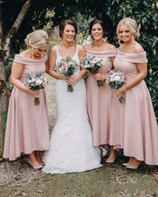 цена на New Cheap Blush Pink Bridesmaid Dresses 2020 Long For Wedding Off Shoulder Ankle Length Backless A-Line High Low Plus Size