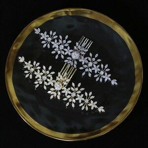 Image 3 - ASNORA szczotka do włosów z cyrkonią i cyrkoniami do ślubnych akcesoriów do włosów, grzebień ślubny do włosów damskich