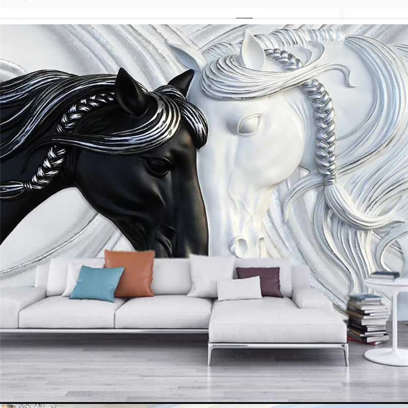 Beibehang Custom 3d Wallpaper Fashion Black And White Double Horse Relief TV Background Wall Photo Wallpaper3d Papel De Parede
