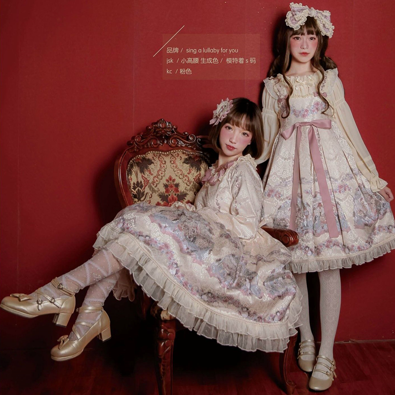 Princesse douce lolita robe mignon impression vintage dentelle bowknot robe victorienne kawaii fille gothique lolita jsk loli cosplay