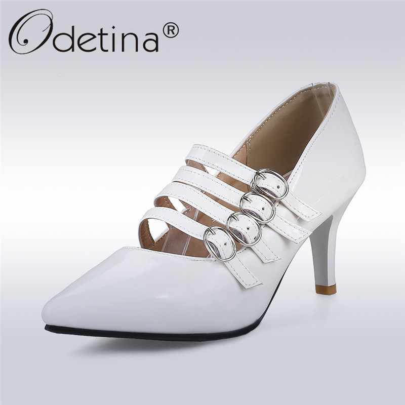 Odetina 2017 New Fashion Sexy High Heels Stiletto Women Pointed Toe Pumps Buckle Thin Heels Party Wedding Shoes Big Size 31-43 qplyxco 2017 new sale ladys big size 30 47 shoes women pumps fashion sexy high heels shoes party wedding pointed toe shoes a 3